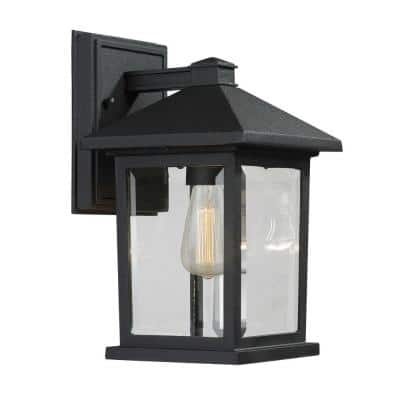 Malone 1-Light Black Modern Outdoor Wall Lantern Sconce with Clear Beveled Glass Shade