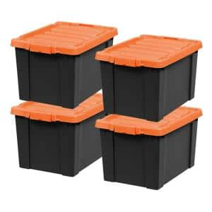 19-Gal. Store-It-All Tote in Black with Orange Lid and Buckle (4-Pack)