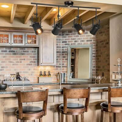 Rotatable 4-Light Black Farmhouse Wall Track Lighting Kit for Kitchen Modern Dimmable Multi-directional Task Light