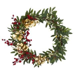 21in. Olive, Berries and Gold Eucalyptus Artificial Wreath