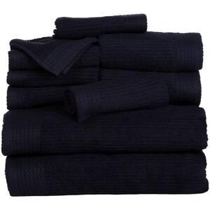 10-Piece Black Ribbed 100% Cotton Bath Towel Set
