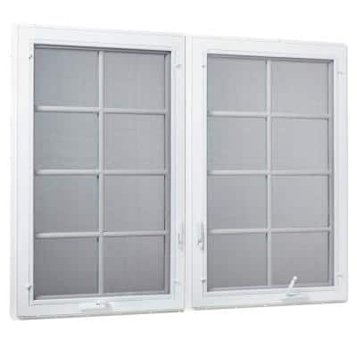 71 in. x 47.5 in. Right/Left Hand Vinyl Dual COMBO Casement Window with Grids and Screen