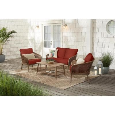Coral Vista 4-Piece Brown Wicker and Steel Patio Conversation Seating Set with Sunbrella Henna Red Cushions