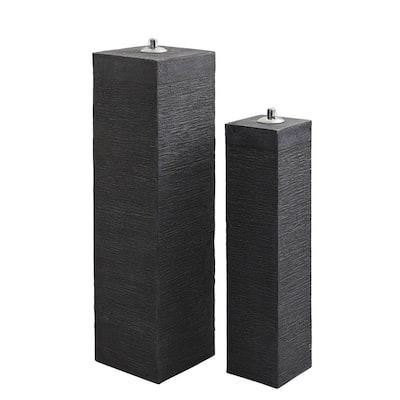 Fiber Clay Outdoor Pillar Oil Lamps (Set of 2)