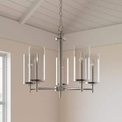 5-Light Brushed Nickel Chandelier with Clear Glass Shades