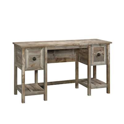 54 in. Rectangular Rustic Cedar 2 Drawer Writing Desk with File Storage