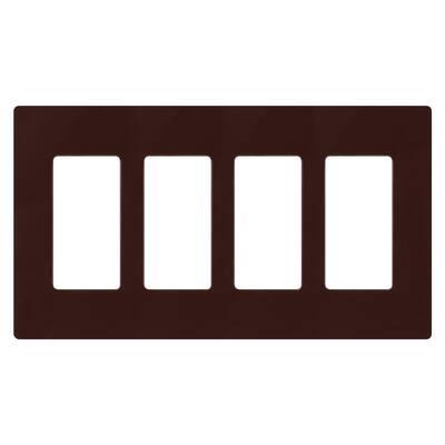 Claro 4 Gang Decorator/Rocker Wallplate, Gloss, Brown (1-Pack)