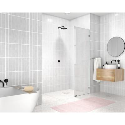 16 in. W x 78 in. H Single Fixed Panel Frameless Shower Door in Matte Black