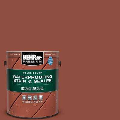 1 gal. #SC-330 Redwood Solid Color Waterproofing Exterior Wood Stain and Sealer