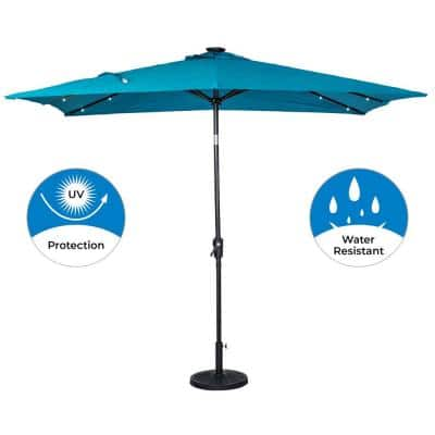 9 ft. x 7 ft. Rectangular Solar Lighted Market Patio Umbrella in Teal