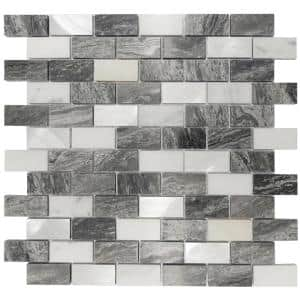 Marble Luxe Gray 11.61 in. x 11.69 in. Brick Joint Polished Marble and Metal Mosaic Wall Tile (0.97 sq. ft./Each)