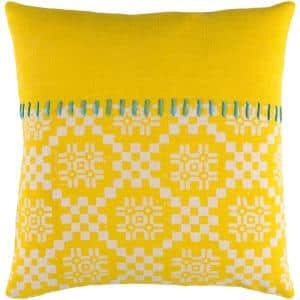 Boscobel Yellow Geometric Polyester 20 in. x 20 in. Throw Pillow