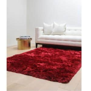 Luxe Shag Red 5 ft. x 8 ft. Area Rug