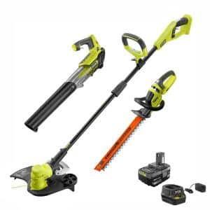 ONE+ 18V 13 in. Cordless Battery String Trimmer, Blower, and Hedge Trimmer Combo Kit with 4.0 Ah Battery and Charger