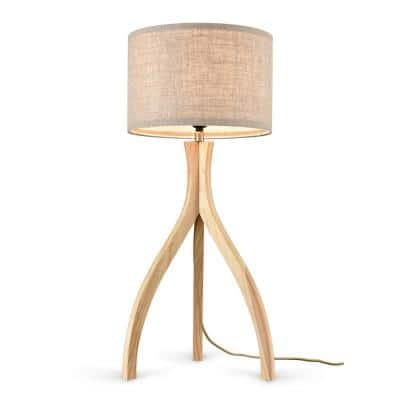 Arboa 26.75 in. Natural Tripod Table Lamp with Fabric Shade