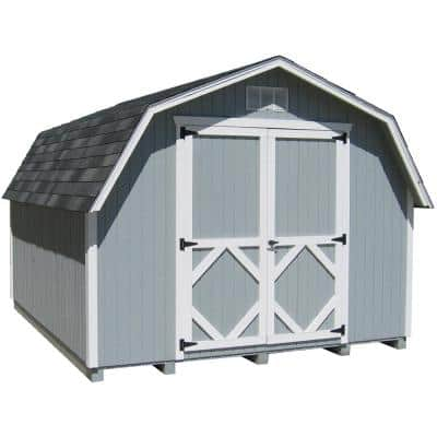 Classic Gambrel 10 ft. x 18 ft. Wood Storage Building Precut Kit with 4 ft. Sidewalls with Floor