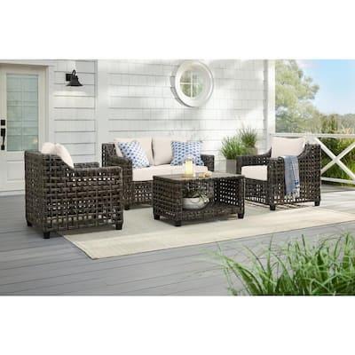 Briar Ridge Brown Wicker Outdoor Patio Loveseat with CushionGuard Almond Tan Cushions