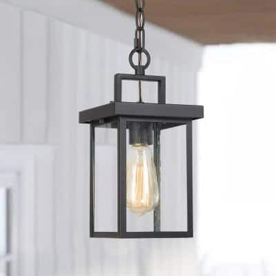 Modern Industrial 1-Light Textured Black Lantern Pendant Light with Seeded Glass Shade Outdoor Ceiling Light