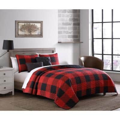 Buffalo Plaid 5-Piece Red and Black Twin Comforter Set