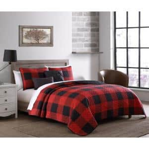 Buffalo Plaid 5-Piece Red/Black Queen Quilt Set with Throw Pillows
