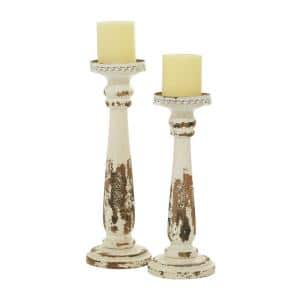 Brown Wood Traditional Candle Holder (Set of 2)