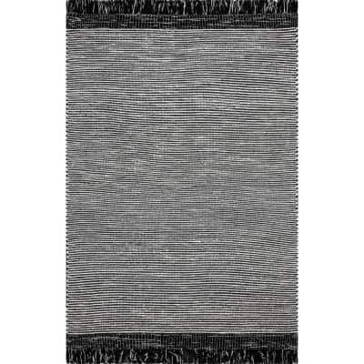 Pinto Striped Black 8 ft. x 10 ft. Area Rug