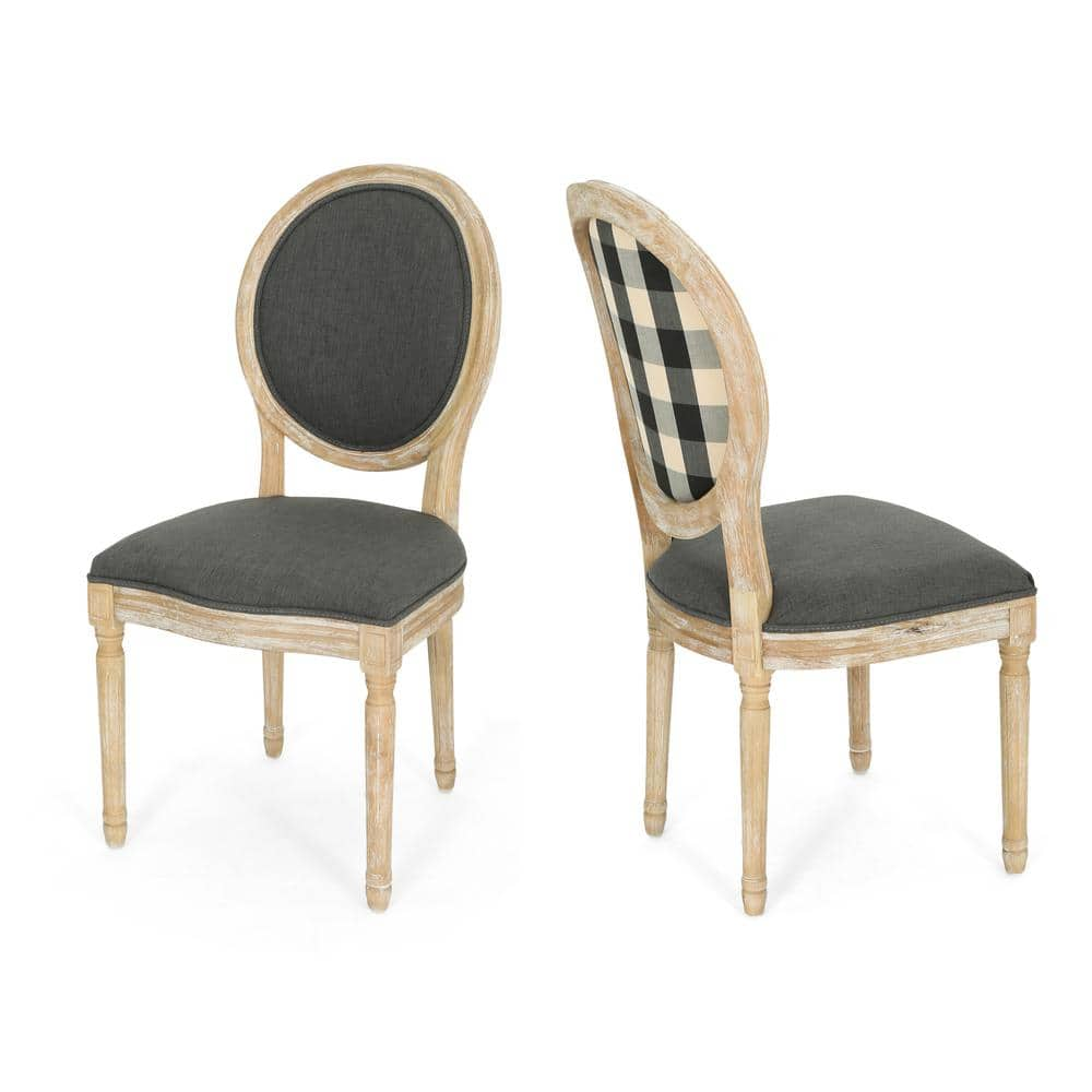 Noble House Phinnaeus Farmhouse Dark Gray Fabric Dining Chairs With Black Checkerboard Back Design Set Of 2 42415 The Home Depot