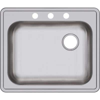 Dayton Drop-In Stainless Steel 25 in. 3-Hole Single Bowl Kitchen Sink with Right Drain