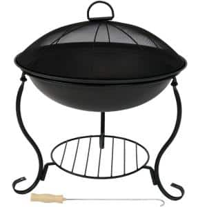 18.75 in. D x 19 in. H Raised Black Round Steel, Wood Fire Pit with Spark Screen and Stand