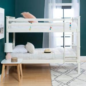 Solid Wood Twin over Twin Mission Design Bunk Bed - White