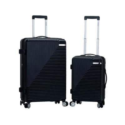 Star Trail 2-Piece Hardside Spinner Luggage Set in Black