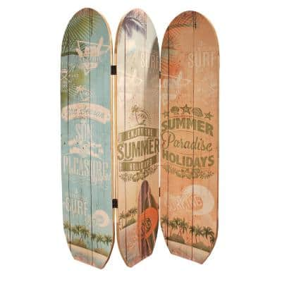 Surfboard Summer 6 ft. Multi 3-Panel Room Divider