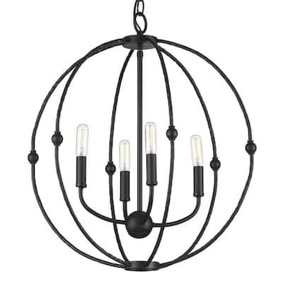 Pacolet 4-Light Textured Black Chandelier