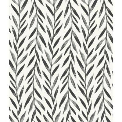 Willow Black Paper Peel & Stick Repositionable Wallpaper Roll (Covers 34 Sq. Ft.)
