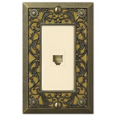Filigree 1 Gang Phone Metal Wall Plate - Antique Brass