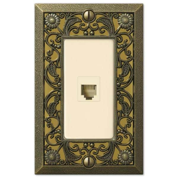 Amerelle Filigree 1 Gang Phone Metal Wall Plate Antique Brass 65phab The Home Depot