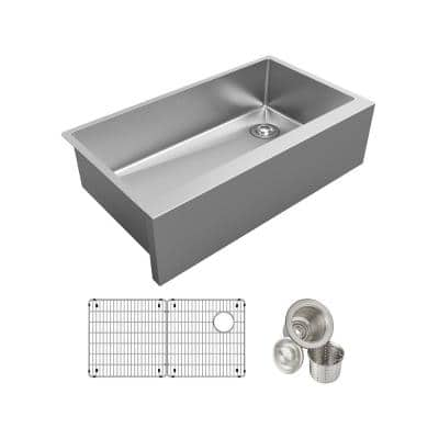 Crosstown 16-Gauge Stainless Steel 35-7/8 in. Single Bowl Tall Farmhouse Apron Kitchen Sink Kit
