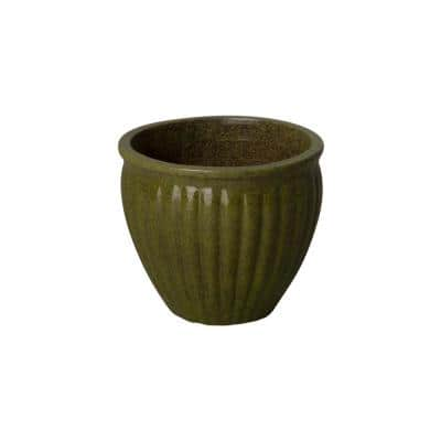 11 in. Tropical Green Round Ceramic Planter with Ridges