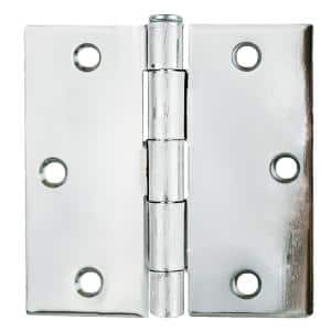 3.5 in. x 3.5 in. Bright Chrome Plain Bearing Steel Hinge (Set of 2)