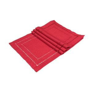 13 in. x 19 in. Handmade Double Hemstitch Easy Care Placemat in Red (4-Set)