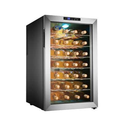 28-Bottle Thermoelectric Stainless Steel Wine Cooler Refrigerator