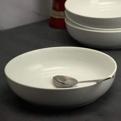 Extra Wide 8.5 in. White Dinner and Serving Bowl (Set of 4)