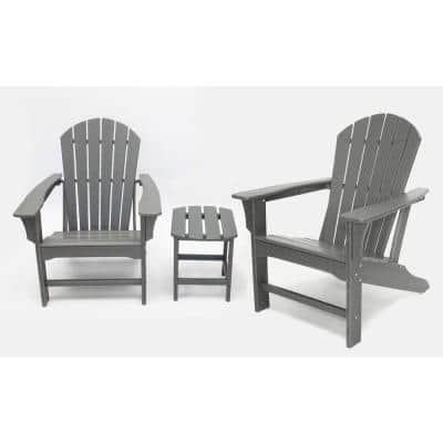 Hampton Gray Poly Outdoor Patio Adirondack Chair and Table Set
