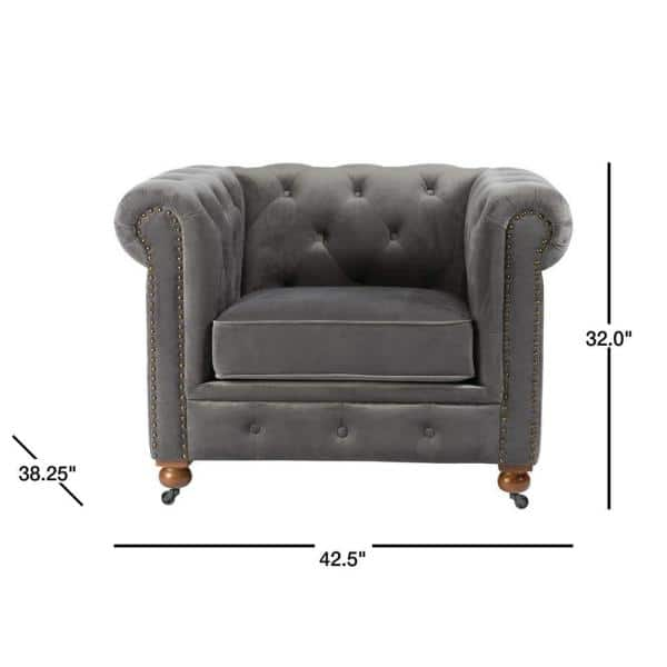Home Decorators Collection Gordon Grey Velvet Arm Chair 0849600120 The Home Depot