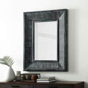 Small Rectangle Grey Wash Modern Mirror (3 in. H x 28 in. W)