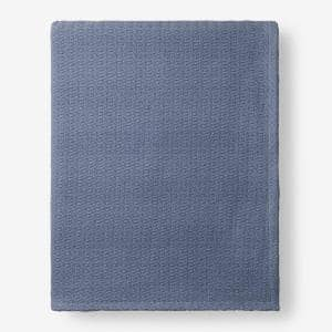 Organic Cotton Shadow Blue Solid Full Woven Blanket