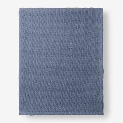 Organic Cotton Shadow Blue Solid Twin Woven Blanket