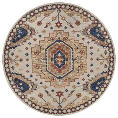 Juniper Beige/Blue 7 ft. 9 in. Round Ornamental Ethnic Wool Area Rug