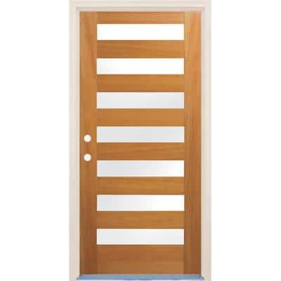 36 in. x 96 in. Right-Hand/Inswing 7 Lite Satin Etch Glass Unfinished Fir Wood Prehung Front Door