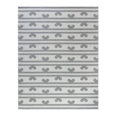 Mickey Mouse Peek A Boo Gray/Cream 8 ft. x 10 ft. Striped Indoor/Outdoor Area Rug